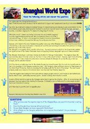 English Worksheets: Shanghai Expo