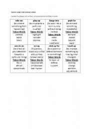 English Worksheet: phrasal verbs taboo game