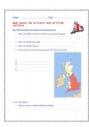 English Worksheet: WEB QUEST ON BRITAIN AND THE BRITISH CULTURE