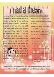 English Worksheets: I had a dream. ( Sue�s dream )