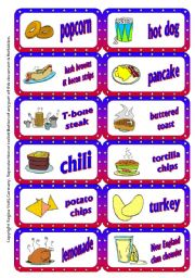 English Worksheet: American Food Domino / Dominoes