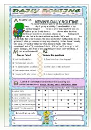English worksheet: DAILY ROUTINE