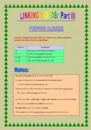 English Worksheet: Linking words part III: purpose & manner clauses