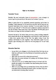 English Worksheet: The night at the museum teaching guide