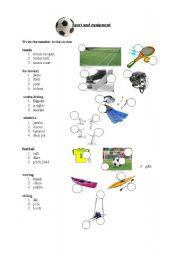 English Worksheet: sport and equipment
