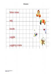 English worksheet: Clowns
