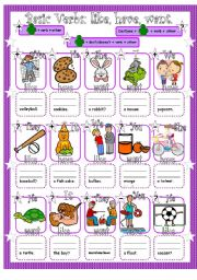 English Worksheet: Basic Verbs (Have, Like, Want) in the Simple Present: Affirmative, Negative and Interrogative