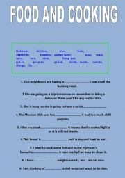English Worksheet: FOOD AND COOKING- Vocabulary and phrases