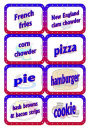 English Worksheet: American Food - Speaking / Matching / Memory Cards 1/2