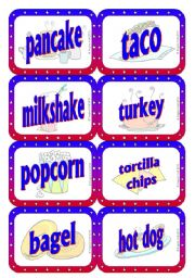 English Worksheet: American Food - Speaking / Matching / Memory Cards 2/2