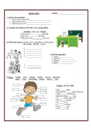 English Worksheet: Test on Grammar / Vocabulary for Young Learners