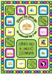 how do you go to school by on means of transport board game cards instructions
