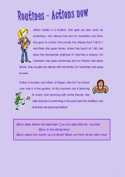 English Worksheets: Routines and actions now