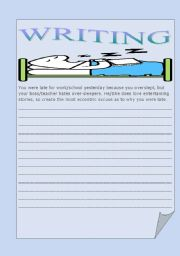 English Worksheets: Late again! Writing contest