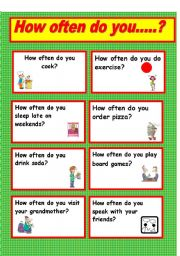 English Worksheet: how often... conversation cards