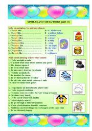 English Worksheet: similes and metaphors (part II)