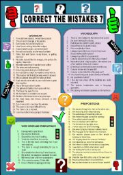 English Worksheets: CORRECT THE MISTAKES 7. BW printer friendly version and anwer key