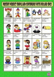English Worksheet: PRESENT PERFECT SIMPLE OR CONTINUOUS WITH  FOR / SINCE