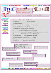 English Worksheets: Either and neither
