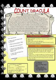 English Worksheets: Count Dracula and Halloween