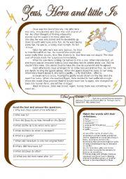 English Worksheets: zeus, hera and io (with key)