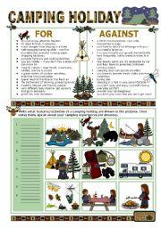 English Worksheet: CAMPING HOLIDAY