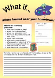 English Worksheet: What if Series 1: What if… Aliens landed in your hometown!