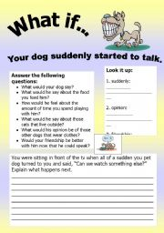 English Worksheet: What if Series 3: What if� Your dog suddenly started to talk!