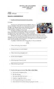 English Worksheets: Reading Comprehension Test