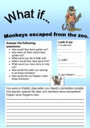 English Worksheets: What if Series 5: What if� Monkeys escaped from the zoo.