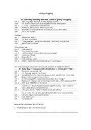 English Worksheet: shopping dialogue