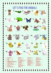 English Worksheets: let�s find the animals