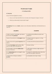 English Worksheet: The Bermuda Triangle (a reading activity with a lesson plan)