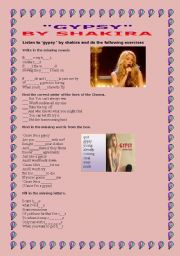 English Worksheet: GYPSY BU SHAKIRA
