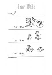English Worksheets: I am little