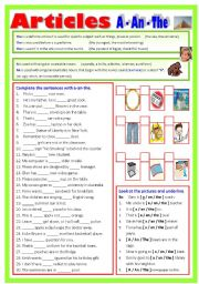 English Worksheet: Articles = A-An-The  (B/W & Keys)