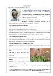 English Worksheets: reading test Lady Gaga�s style