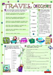 English Worksheet: TRAVEL COLLOCATIONS