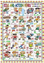 English Worksheet: CUTE KIDS AND ACTION VERBS (B&W VERSION+KEY INCLUDED)