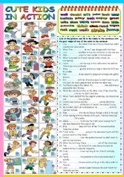 English Worksheet: CUTE KIDS IN ACTION - PAST SIMPLE TENSE (B&W VERSION + KEY INCLUDED)