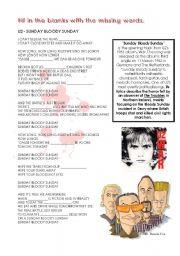 English Worksheet: Sunday, Bloody Sunday
