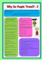 English Worksheets: WHY DO PEOPLE TRAVEL? - 2