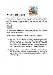 esl worksheets for beginners weather and climate. Black Bedroom Furniture Sets. Home Design Ideas