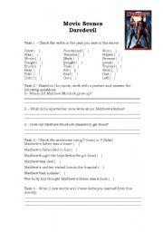 English Worksheets: Movie Scenes - Daredevil