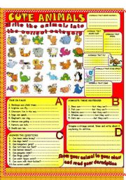 English Worksheets: Cute animals-B&W version-fully editable
