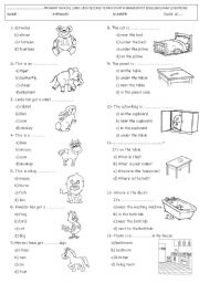 English Worksheets: 4th grdae test (animals and basic prepositions) PART 1
