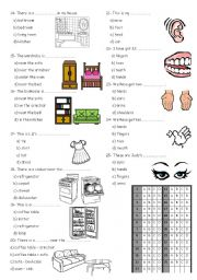 4th grade test furnitur ,basic prepositions and body parts PART 2