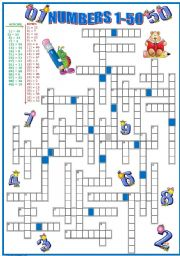 English Worksheet: CROSSWORD: NUMBERS 1-50