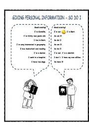 English Worksheet: So do I - neither do I