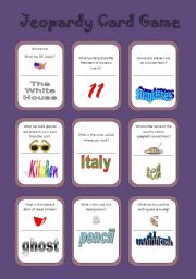 English Worksheets: Jeopardy Card Game